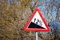 Road sign steep climb on wood background Stock Image