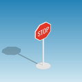 Road sign stop isometric vector illustration