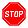 Road sign STOP on white background.