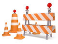 Road sign street cone and easel signs on white background Royalty Free Stock Images