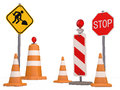 Road sign street cone and easel signs on white background Royalty Free Stock Image