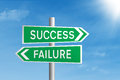 Road sign of success and failure Stock Photos