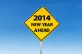 Road sign to new year ahead Royalty Free Stock Photography