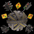 Road sign traffic light asphalt tangled and messy concept of Stock Photography