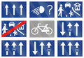 Road sign used in Spain - Three lanes one-way road Royalty Free Stock Photo