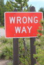 Road sign WRONG WAY Royalty Free Stock Photo