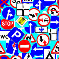 Road signs as seamless pattern