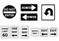 Road signs black and white