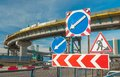 Road signs before the construction of automotive decoupling Royalty Free Stock Photos
