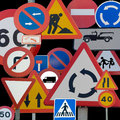 Road signs different european grouped together Royalty Free Stock Image