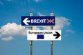 Road signs eu and brexit a a blue sky Stock Image