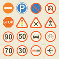 Road signs grunge retro set illustration of a of vintage and traffic symbols Stock Photos
