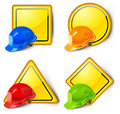 Road signs & helmets Royalty Free Stock Photos