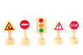 Road signs isolated on white background. Toy Traffic    . Royalty Free Stock Photo