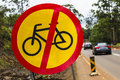 Road Signs No Bicycles  Royalty Free Stock Photo