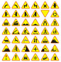 Road signs pack (warning signs) Stock Image