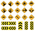Road signs traffic caution sign vector set Stock Images