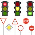 Road signs and traffic lights. A flashing traffic light. Royalty Free Stock Photo
