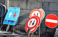 Road signs in a warehouse of construction company bunch Royalty Free Stock Photography