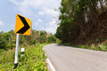 Road signs warn drivers about ahead dangerous curve Royalty Free Stock Image