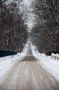 Road in the snow warsaw poland Stock Image