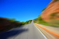 Road speed summer landscape with blurred old Royalty Free Stock Image