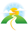 Road sun logo a with setting icon Stock Photos