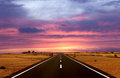 Road and The Sunset Stock Photography
