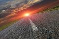 Road and sunset asphalt hot Stock Photo