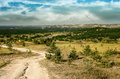 Road to chalky flora reservation in slavyansk ukraine Stock Photos