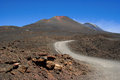 The road to etna biggest active volcano in europe sicily italy Royalty Free Stock Image