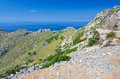 Road to formentor hills tower volcanic with curvy tropical on majorca Stock Photos