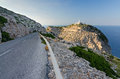 Road to formentor lighthouse tropical landscape of majorca rocky coast with white landscape Royalty Free Stock Image