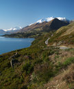 Road to glenorchy lake wakatipu on the way new zealand Stock Image