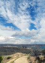 Road to heaven distance route way hill mountain clouds sky blue autumn downhill crimea landscape koktebel Stock Photo