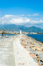 Road to a lighthouse in turkey the scenery of amazing sky clouds and mountains Royalty Free Stock Photos