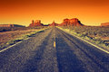 Road to Monument Valley at sunset Royalty Free Stock Photography