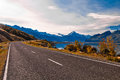 Road to mount cook and pukaki lake new zealand Stock Image
