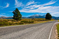 Road to mount cook southern alps new zealand Stock Images