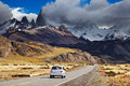 Road to mount fitz roy patagonia argentina in the clouds los glaciares national park Stock Images
