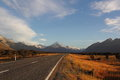 Road to mt cook aoraki from highway Stock Images