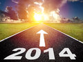 Road to the new year and sunrise background Royalty Free Stock Photo