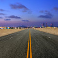 Road to petrochemical plant at sand desert Royalty Free Stock Photo