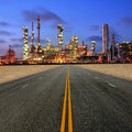 Road to petrochemical plant at sand desert Royalty Free Stock Image