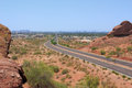 Road to phoenix downtown az of as seen from papago park mountains arizona Stock Photos