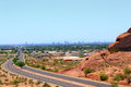 Road to phoenix downtown az mcdowell of as seen from papago park mountains arizona Royalty Free Stock Photos
