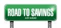 Road to savings sign illustration design Royalty Free Stock Photo