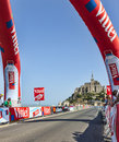 The road to st michel during le tour de france mont saint july image of mont monastery stage of edition of Stock Photo