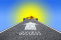 Road to success the with golden money Stock Photography