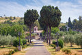 Road to the temple. View of Dajbabe Monastery. Podgorica, Montenegro Royalty Free Stock Photo